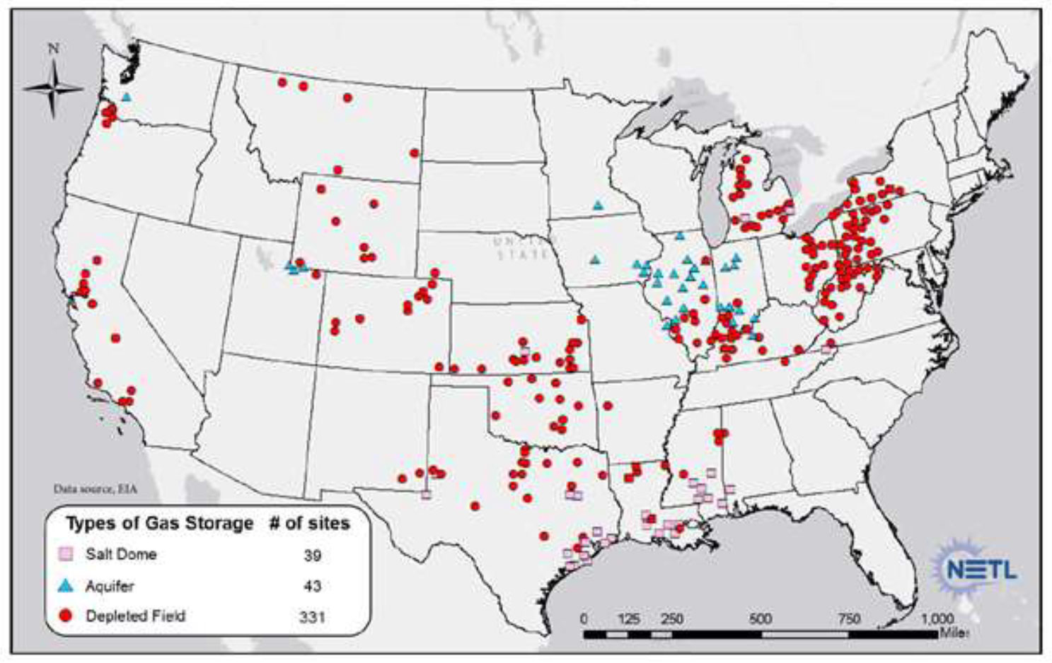 Gas storage facilities across the US