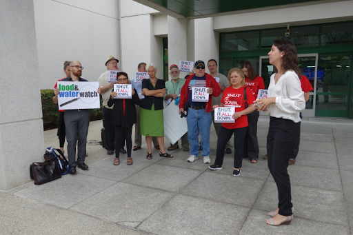Members of Save Porter Ranch, Food and Water Watch and Consumer Watchdog gathered Aug. 26, 2016, at a state workshop on energy reliability to call for the Aliso Canyon Natural Gas Storage Facility to be shut down.