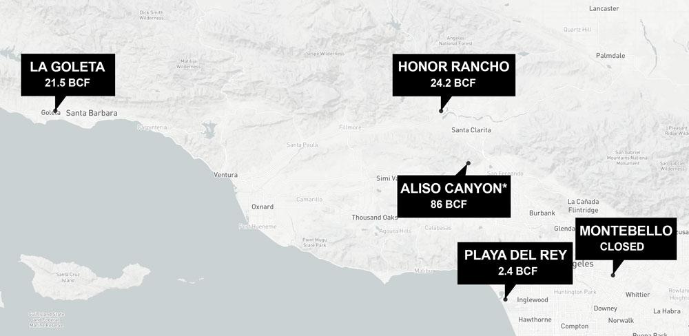Southern California gas storage fields