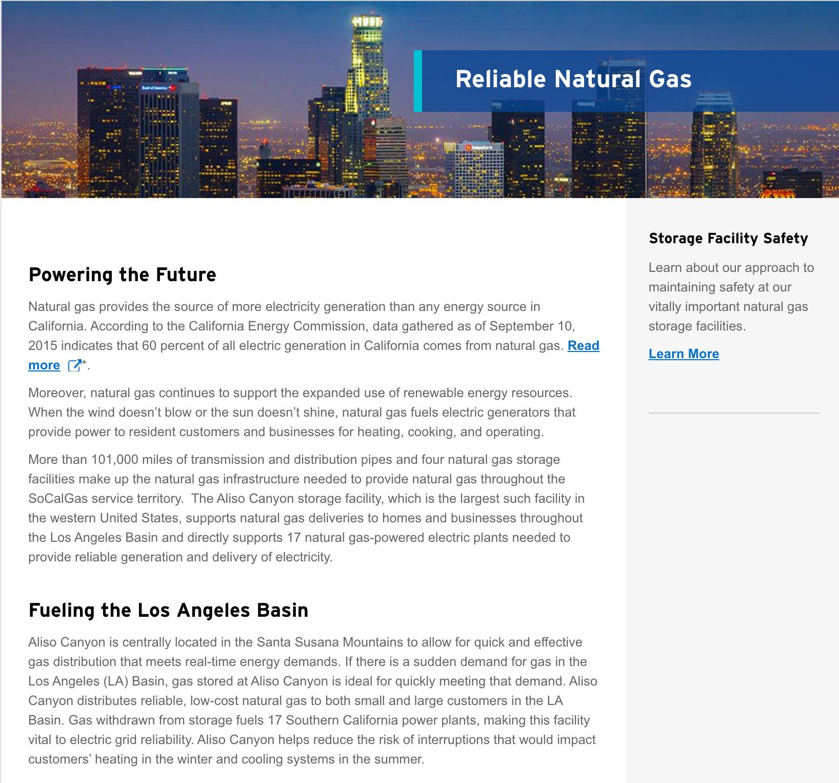 SoCal Gas website screenshot