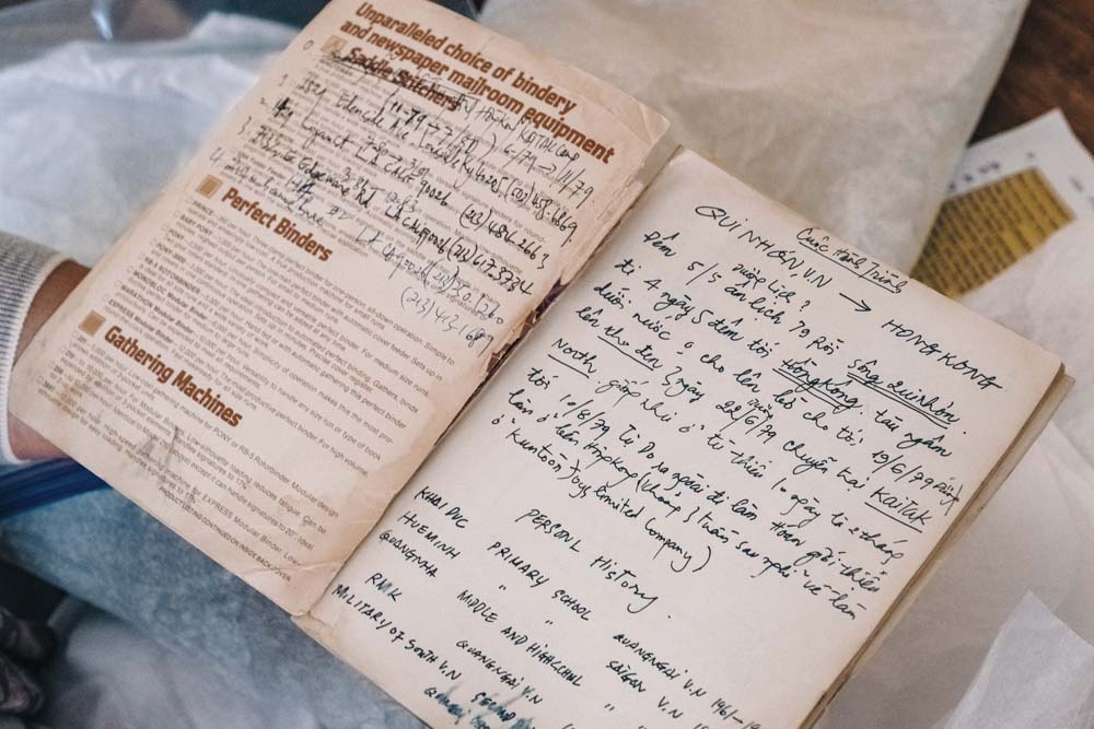 Handwritten journal pages from Luu-Ng's late father.