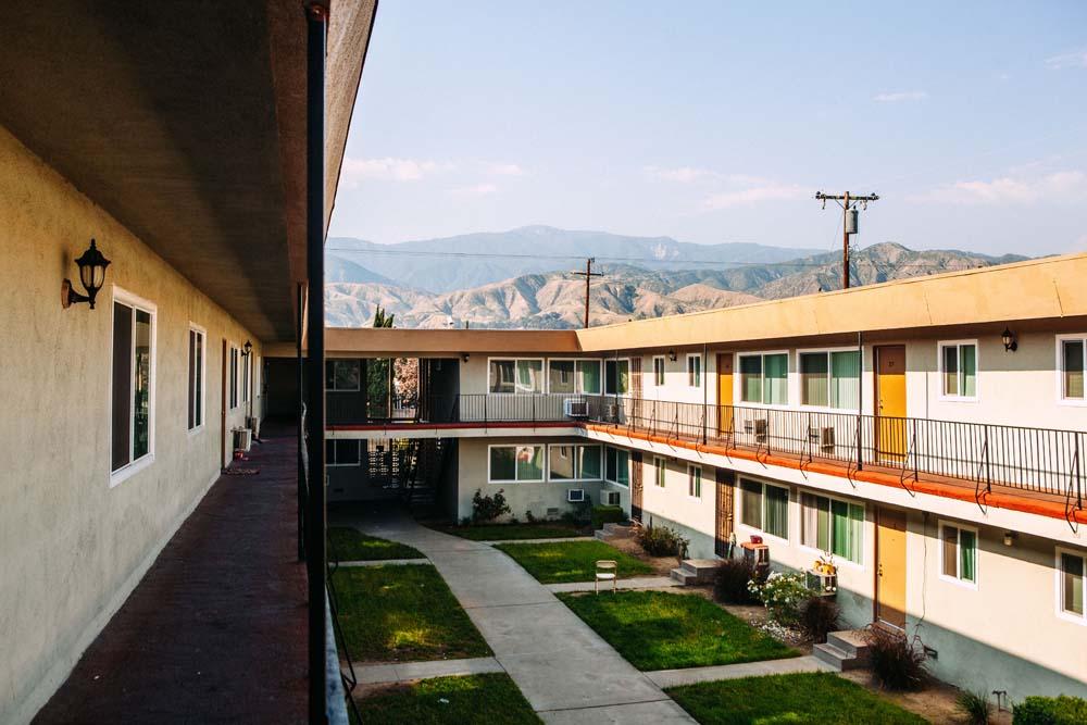 A courtyard at the River Glen Apartments in San Bernardino.